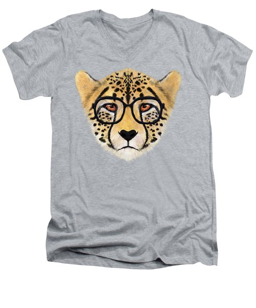Wild Cheetah With Glasses  Men's V-Neck T-Shirt by David Ardil