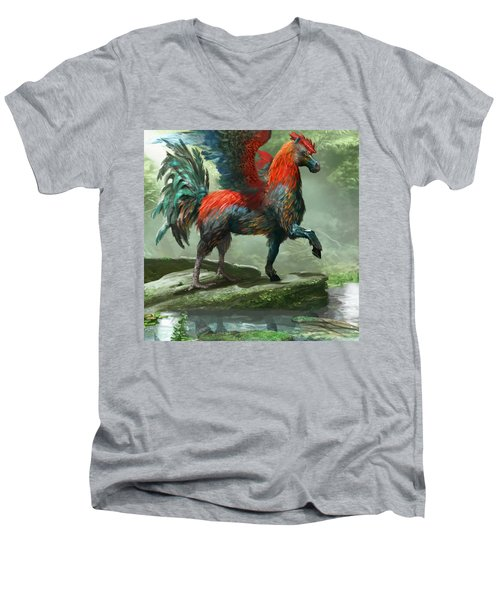 Wild Hippalektryon Men's V-Neck T-Shirt by Ryan Barger