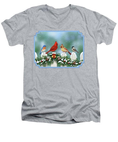 Winter Birds And Christmas Garland Men's V-Neck T-Shirt by Crista Forest