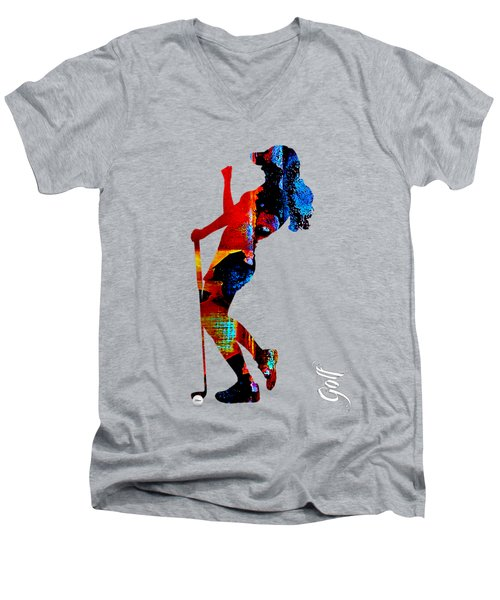 Womens Golf Collection Men's V-Neck T-Shirt by Marvin Blaine