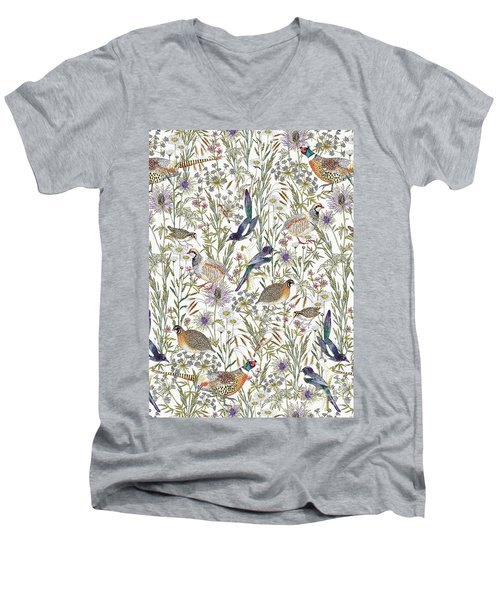 Woodland Edge Birds Men's V-Neck T-Shirt by Jacqueline Colley