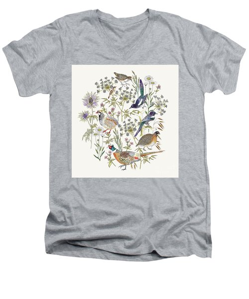 Woodland Edge Birds Placement Men's V-Neck T-Shirt by Jacqueline Colley