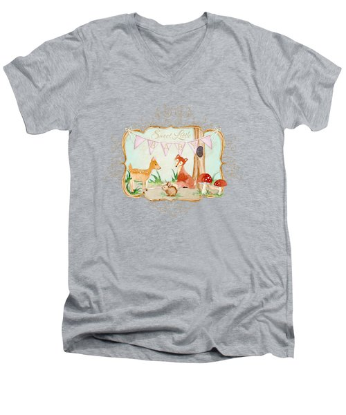 Woodland Fairytale - Banner Sweet Little Baby Men's V-Neck T-Shirt by Audrey Jeanne Roberts