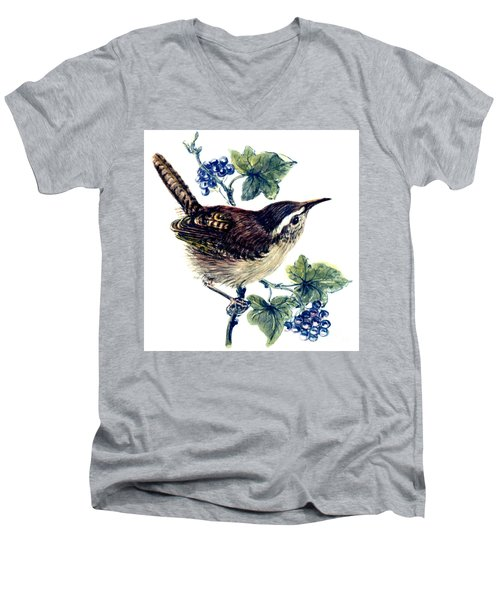 Wren In The Ivy Men's V-Neck T-Shirt by Nell Hill