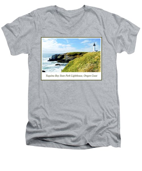 Men's V-Neck T-Shirt featuring the photograph Yaquina Bay Lighthouse Oregon by A Gurmankin