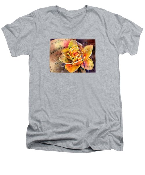 Yellow Rose Of Texas Men's V-Neck T-Shirt by Hailey E Herrera