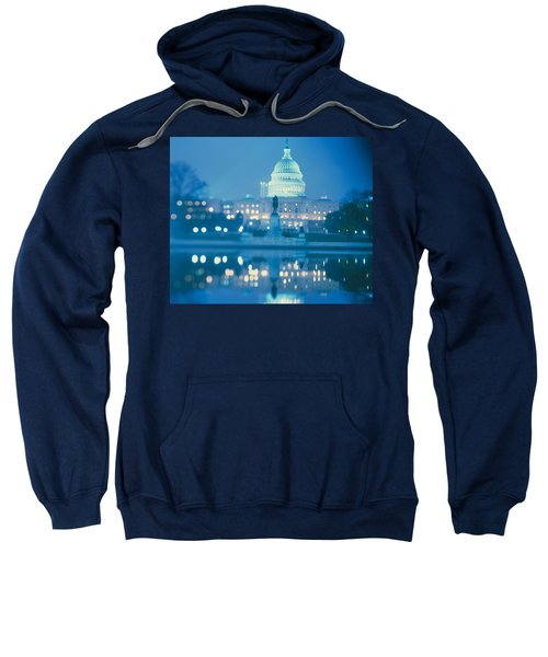 Government Building Lit Up At Night Sweatshirt by Panoramic Images