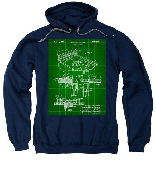 Pinball Machine Patent 1939 - Green Sweatshirt by Stephen Younts