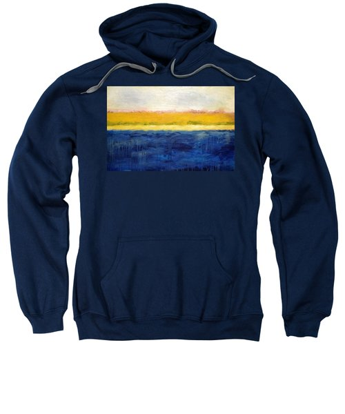 Abstract Dunes With Blue And Gold Sweatshirt by Michelle Calkins
