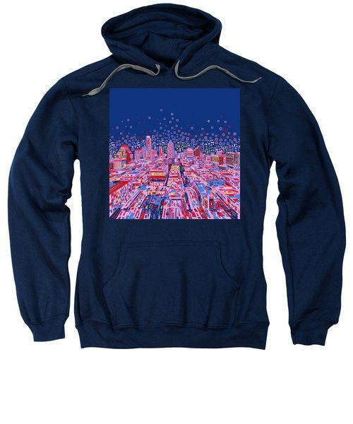 Austin Texas Abstract Panorama Sweatshirt by Bekim Art