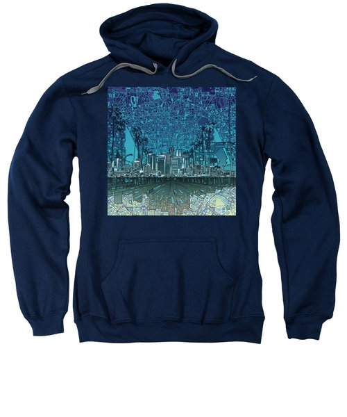 Los Angeles Skyline Abstract 5 Sweatshirt by Bekim Art