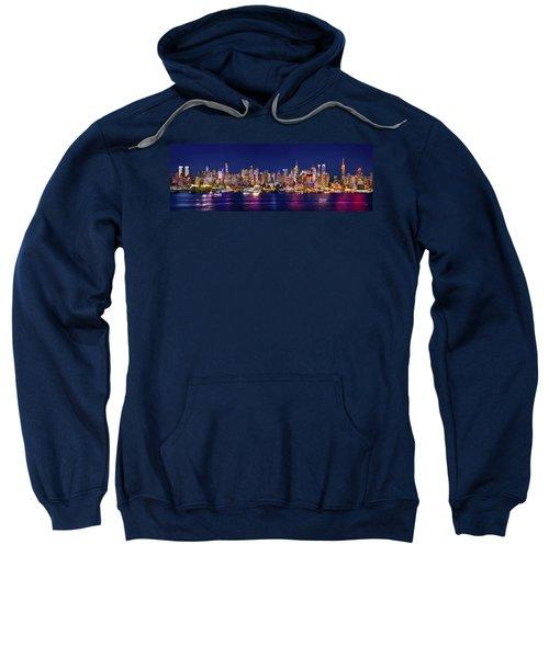 New York City Nyc Midtown Manhattan At Night Sweatshirt by Jon Holiday