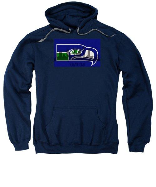 Seattle Seahawks On Seattle Skyline Sweatshirt by Dan Sproul