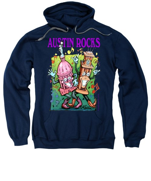 Austin Texas Cartoon Map Sweatshirt by Kevin Middleton