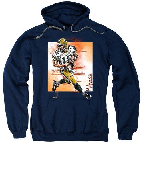 Aaron Rodgers Scrambles Sweatshirt by Maria Arango