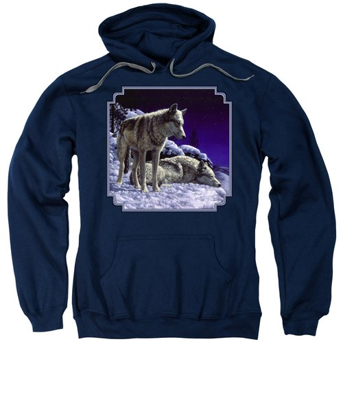 Wolf Painting - Night Watch Sweatshirt by Crista Forest