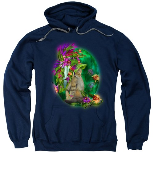 Cat In Tropical Dreams Hat Sweatshirt by Carol Cavalaris