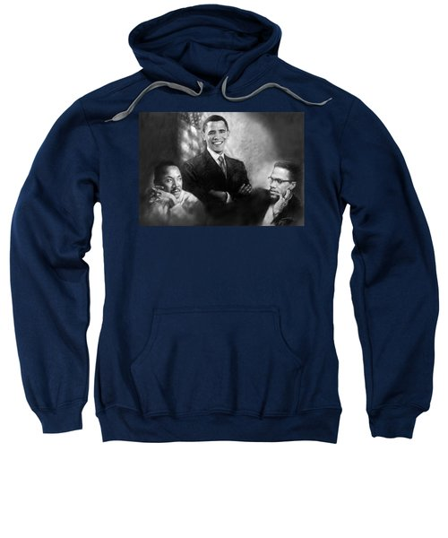 Barack Obama Martin Luther King Jr And Malcolm X Sweatshirt by Ylli Haruni