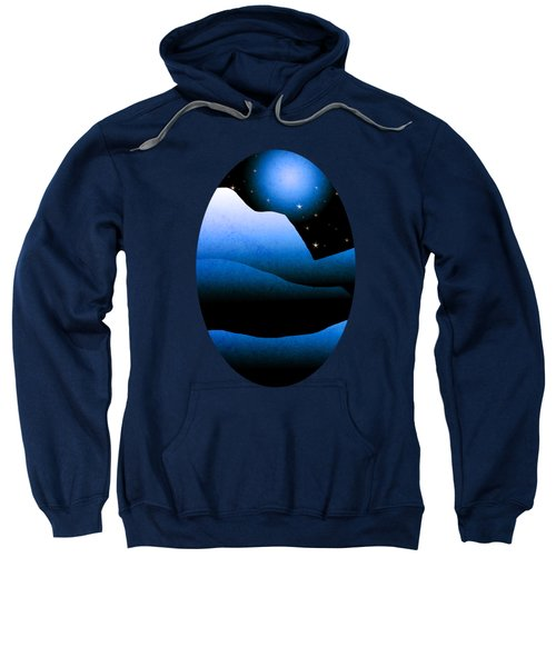 Blue Moon Mountain Landscape Art Sweatshirt by Christina Rollo