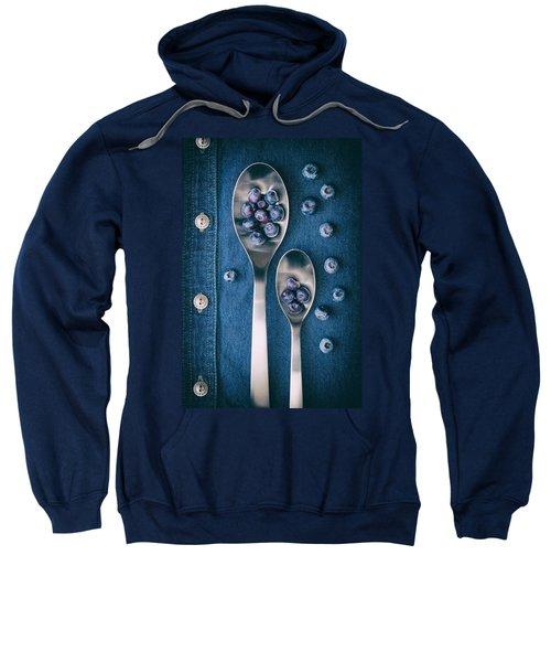 Blueberries On Denim I Sweatshirt by Tom Mc Nemar