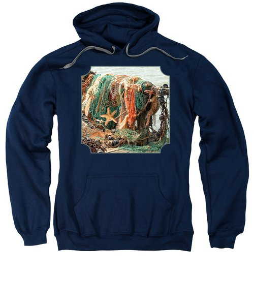 Colorful Catch - Starfish In Fishing Nets Square Sweatshirt by Gill Billington