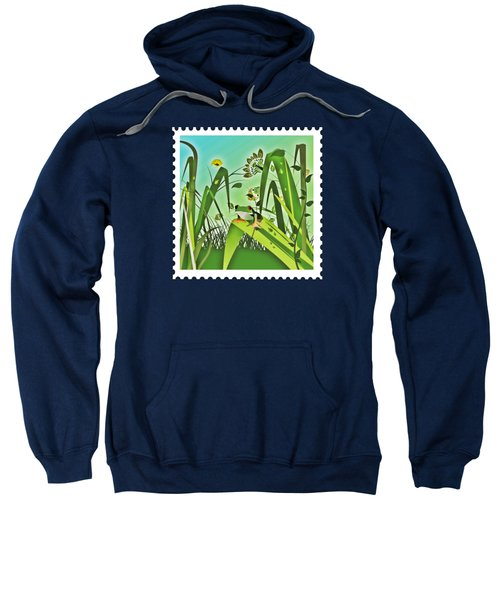 Cute Frog Camouflaged In The Garden Jungle Sweatshirt by Elaine Plesser