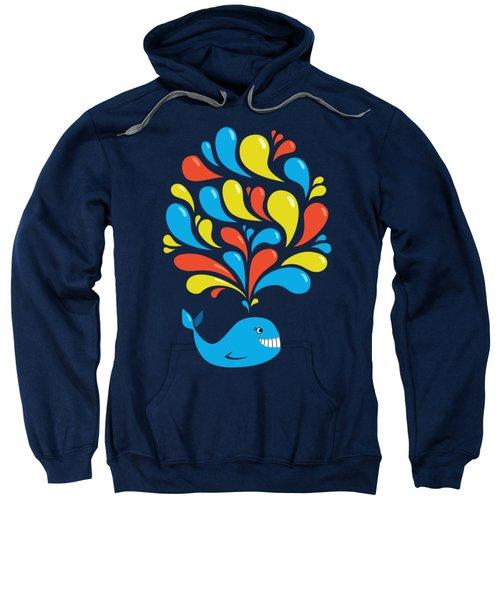 Dark Colorful Splash Happy Cartoon Whale Sweatshirt by Boriana Giormova