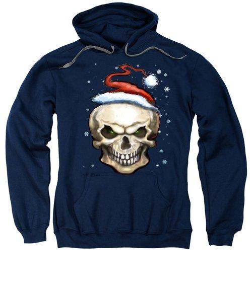 Evil Christmas Skull Sweatshirt by Kevin Middleton