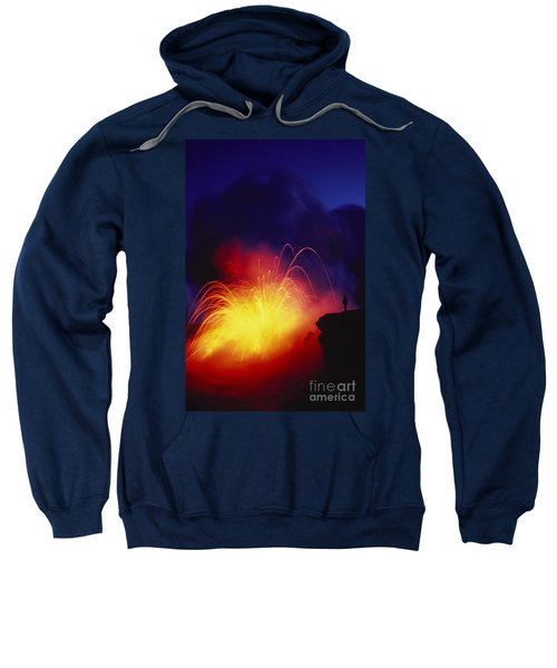 Exploding Lava And Person Sweatshirt by Greg Vaughn - Printscapes