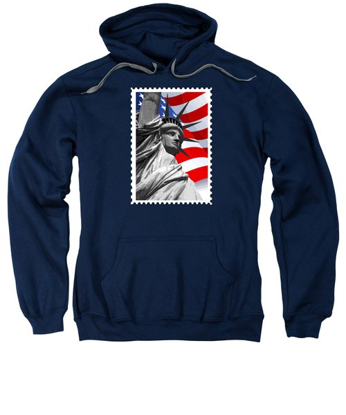 Graphic Statue Of Liberty With American Flag Sweatshirt by Elaine Plesser