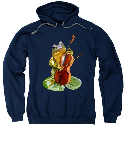Humorous Scene Frog Playing Cello In Lily Pond Sweatshirt by Regina Femrite