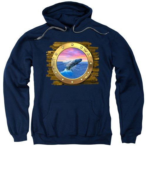Humpback Whale Breaching At Sunset Sweatshirt by Glenn Holbrook