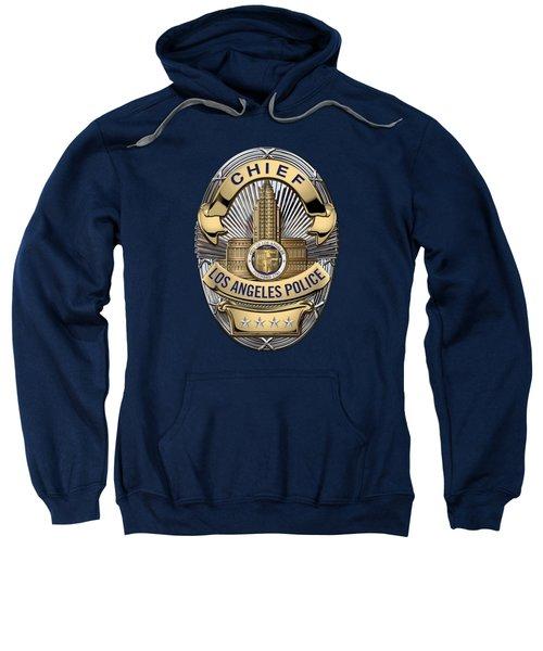 Los Angeles Police Department  -  L A P D  Chief Badge Over Blue Velvet Sweatshirt by Serge Averbukh