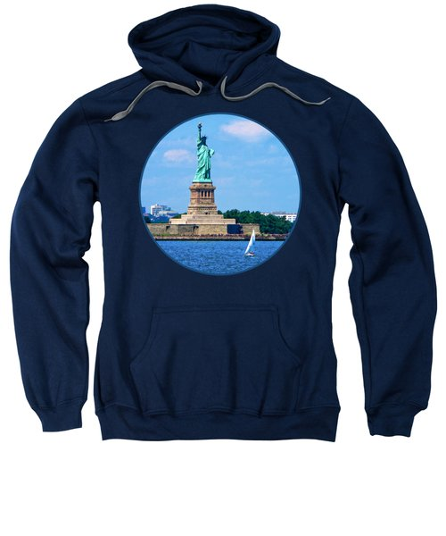 Manhattan - Sailboat By Statue Of Liberty Sweatshirt by Susan Savad