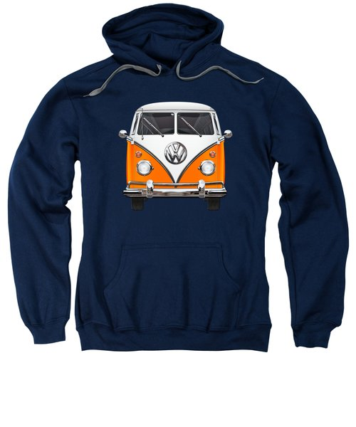 Volkswagen Type - Orange And White Volkswagen T 1 Samba Bus Over Blue Canvas Sweatshirt by Serge Averbukh