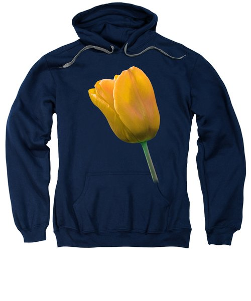 Yellow Tulip On Black Sweatshirt by Gill Billington