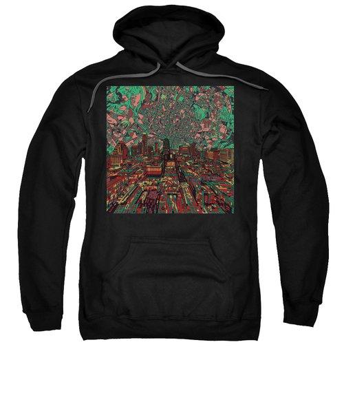 Austin Texas Vintage Panorama 3 Sweatshirt by Bekim Art