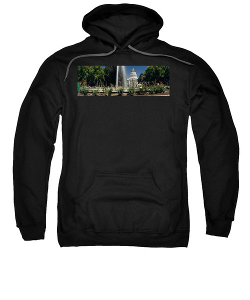 Fountain In A Garden In Front Sweatshirt by Panoramic Images
