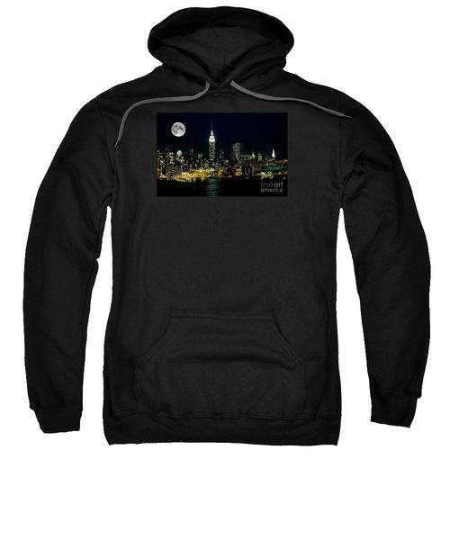 Full Moon Rising - New York City Sweatshirt by Anthony Sacco