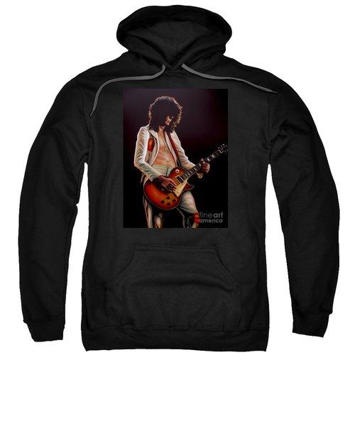 Jimmy Page In Led Zeppelin Painting Sweatshirt by Paul Meijering