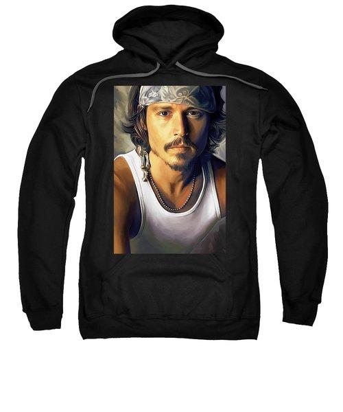 Johnny Depp Artwork Sweatshirt by Sheraz A