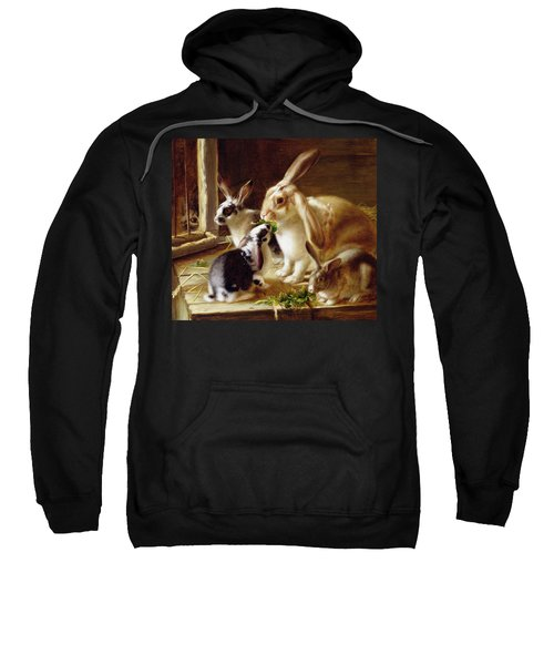 Long-eared Rabbits In A Cage Watched By A Cat Sweatshirt by Horatio Henry Couldery