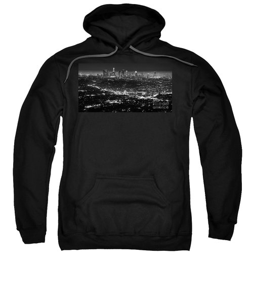 Los Angeles Skyline At Night Monochrome Sweatshirt by Bob Christopher