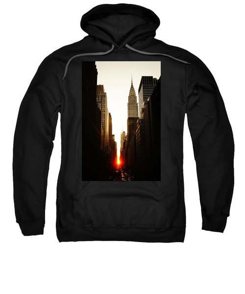 Manhattanhenge Sunset And The Chrysler Building  Sweatshirt by Vivienne Gucwa