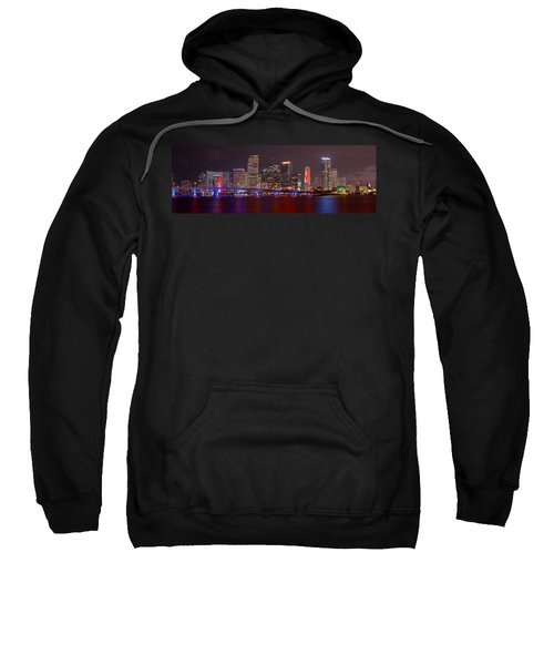 Miami Skyline At Night Panorama Color Sweatshirt by Jon Holiday