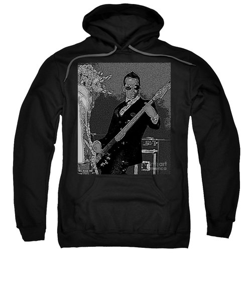 Bass Player Art Bw Sweatshirt by Lesa Fine