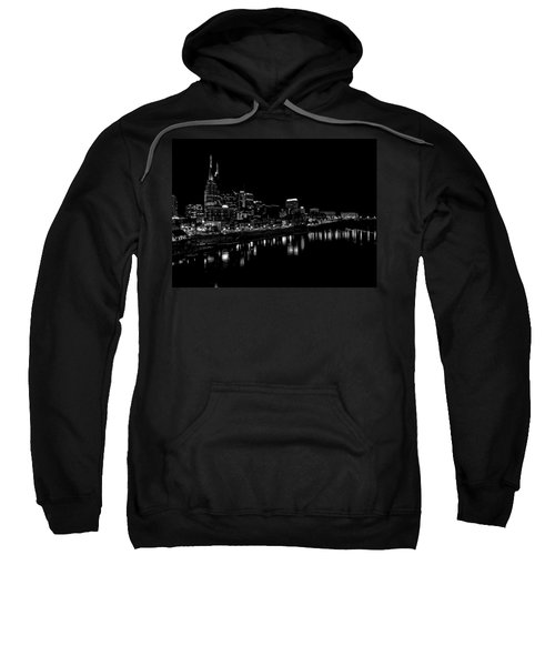 Nashville Skyline At Night In Black And White Sweatshirt by Dan Sproul