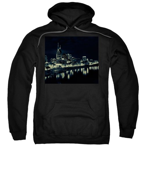 Nashville Skyline Reflected At Night Sweatshirt by Dan Sproul