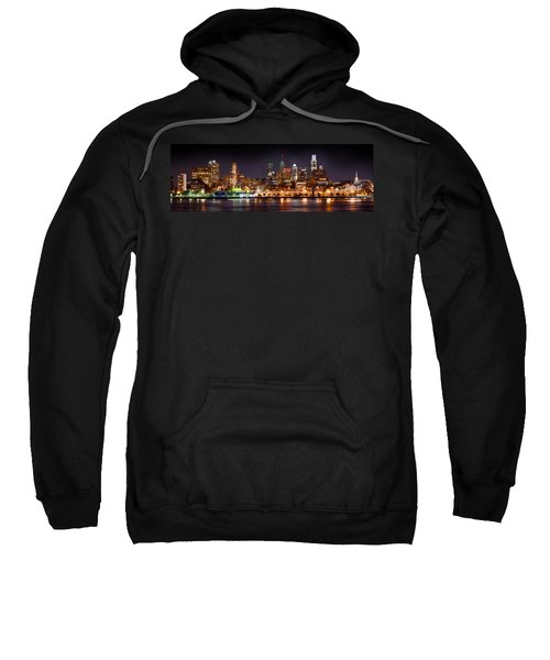 Philadelphia Philly Skyline At Night From East Color Sweatshirt by Jon Holiday