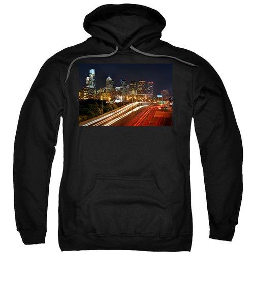 Philadelphia Skyline At Night In Color Car Light Trails Sweatshirt by Jon Holiday